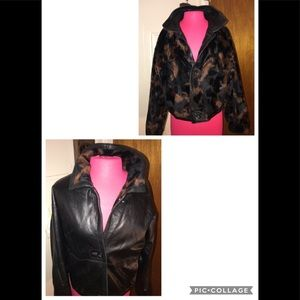 SM.Womens Reversible Leather Jacket/Animal Print💋